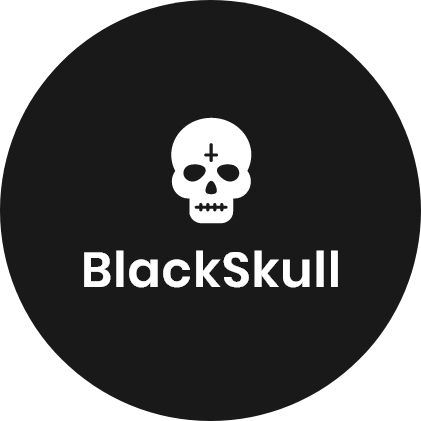 Two black boxes with the words Blackskull Media inside